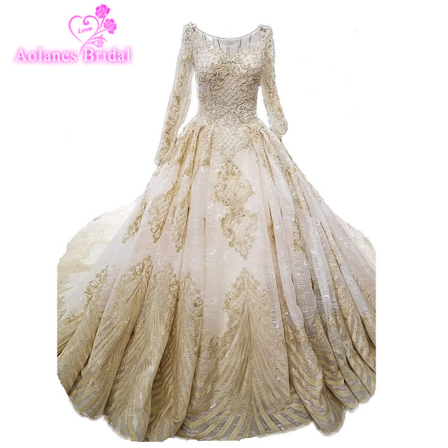 2018 Long Sleevese Bride Wedding Dresses Princess Dream Luxury Bridal Gown  New Pregnant Woman Champagne Ball 543f38856708