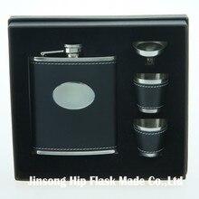 Envío gratis ¡frasco de cuero envuelto de 7 onzas con 2 tazas y embudo en caja de regalo para regalo de hombre