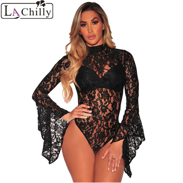 6ded90c589 La Chilly Autumn Combinaison Femme Black White Sheer Floral Lace Bell Sleeve  Turtleneck Bodysuit Long Sleeve Body Mujer LC32158
