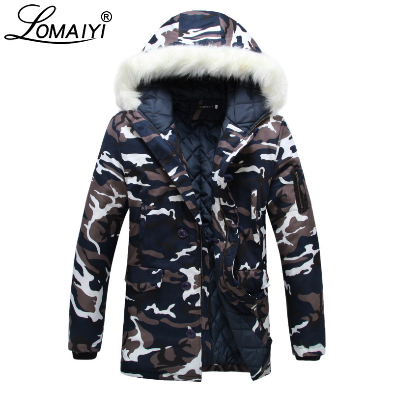 b515f53c05c0e LOMAIYI Lovers Mid Length Parka Men Winter Warm Padded Jacket Coat Male  Camouflage Windbreaker Navy Camo Cotton Overcoat BM206-in Parkas from Men's  Clothing ...