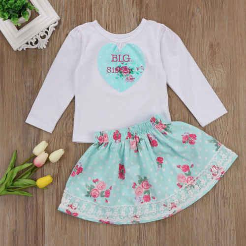 2018 Familie Kids Baby Meisjes Casual Kleding Grote Zusje Katoen O-hals Mouwloos T-shirt Romper + Rok Jurk Outfits Set