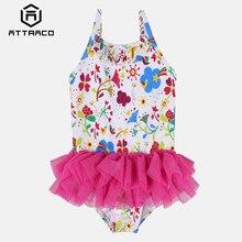 Attraco Baby Girls One Piece Swimsuits Flower Striped Print Swimwear Ruffle Kids Cute Bikini Adjustable Strap Beach Wear