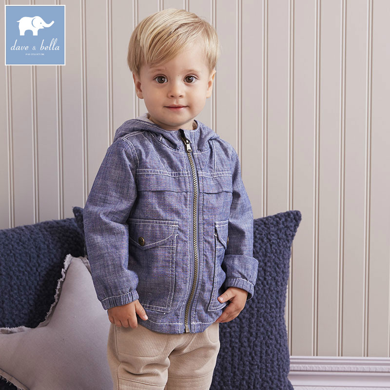 DB5922 dave bella autumn infant baby boys 100% cotton clothes toddler Hooded  coat boys children