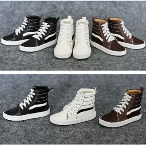 Image 1 - 1Pair New Fashion BJD Doll Shoes Black Brown White PU Shoes BJD 1/4 1/3