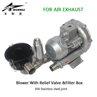 370w triphase small turbo air suck vacuum blower with Relief Valve and dust filter box