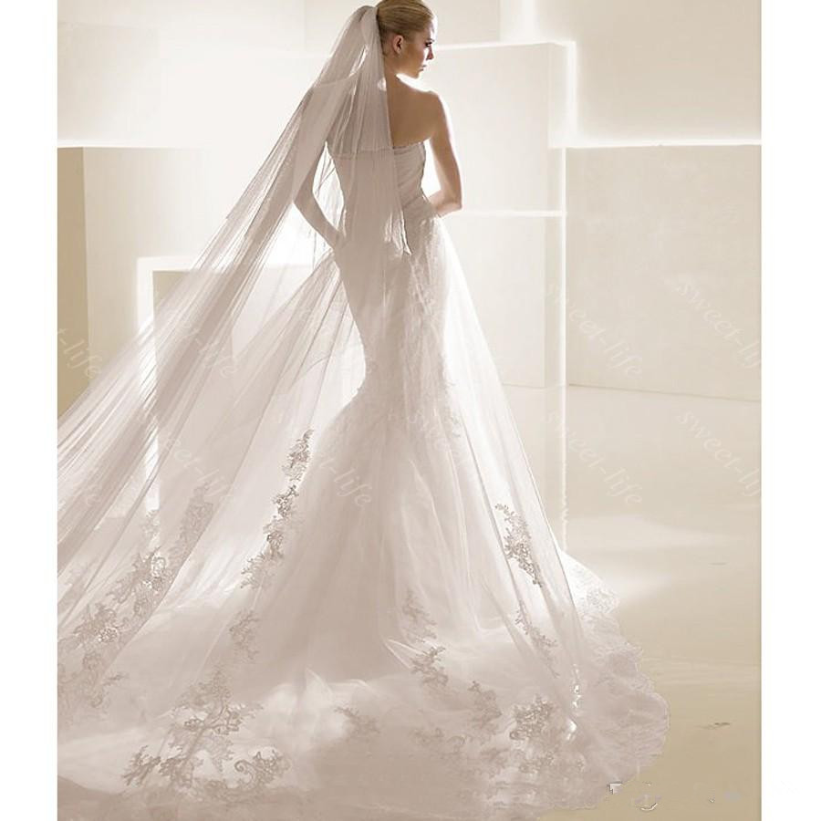 Gorgeous white ivory bride wedding dress veils two layers for Wedding dress with veil