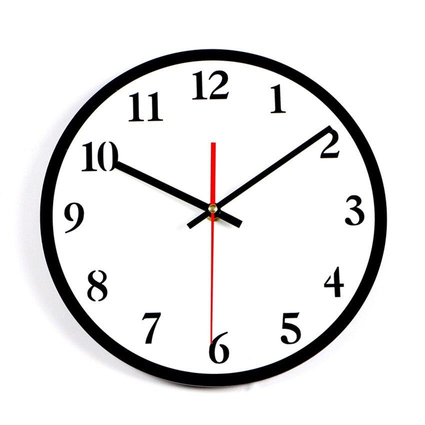 Baru 2017 Nomor Jam Dinding Hitam Putih Sederhana Jam Silent Home
