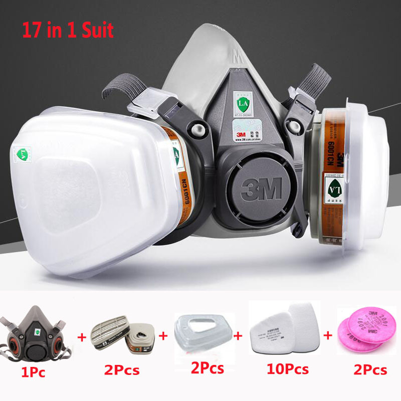 3M 6200 Half Face Painting Spraying Respirator Gas Mask 17 In 1 Suit Safety Work Filter Dust Mask new style sjl 6200 suit respirator painting spraying face gas mask with goggles paint glasses