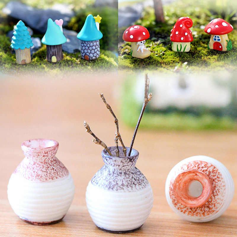 Cartoon Tree Mushroom Houses Mini Craft Home Decoration Accessories Vintage Blue House Fine Mouth Vase Fairy Garden