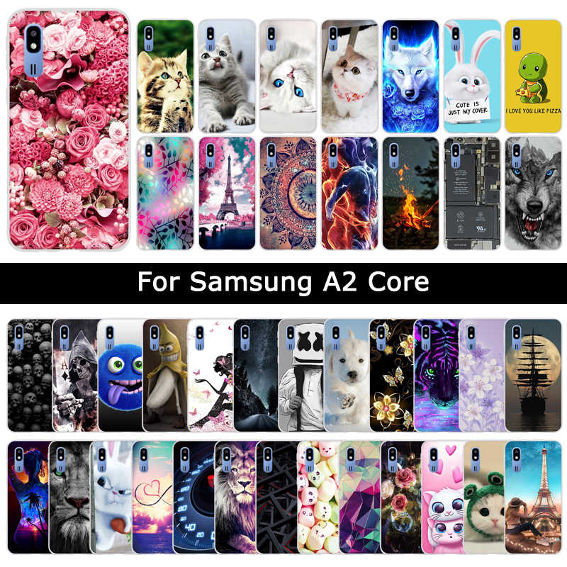 Cases For Samsung Galaxy A2 Core A2Core Soft Silicone TPU Floral Cat Cute Patterned Protective Cases Phone Shells Cover Fundas
