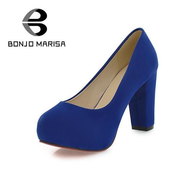 BONJOMARISA Tamanho Grande Mulheres Bombas 2016 New Sexy Calcanhar Robusto escritório Sapatos de Casamento Plataforma de Salto Alto Mulher 5 Cores Envolto bombas
