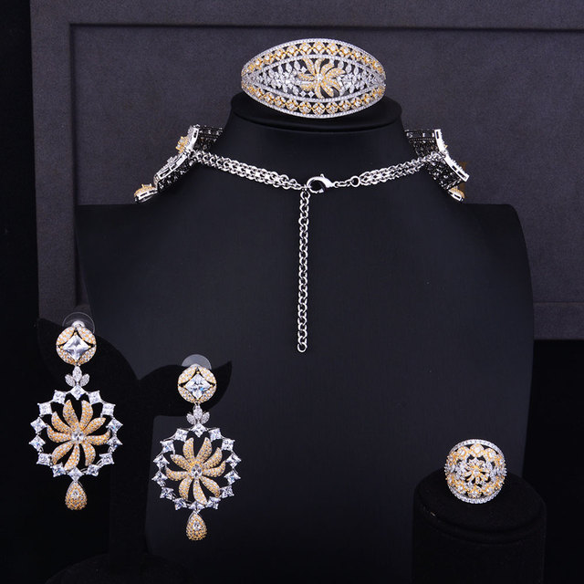 Wide Big Luxury Cubic Zirconia Flower Choker Necklace Earring