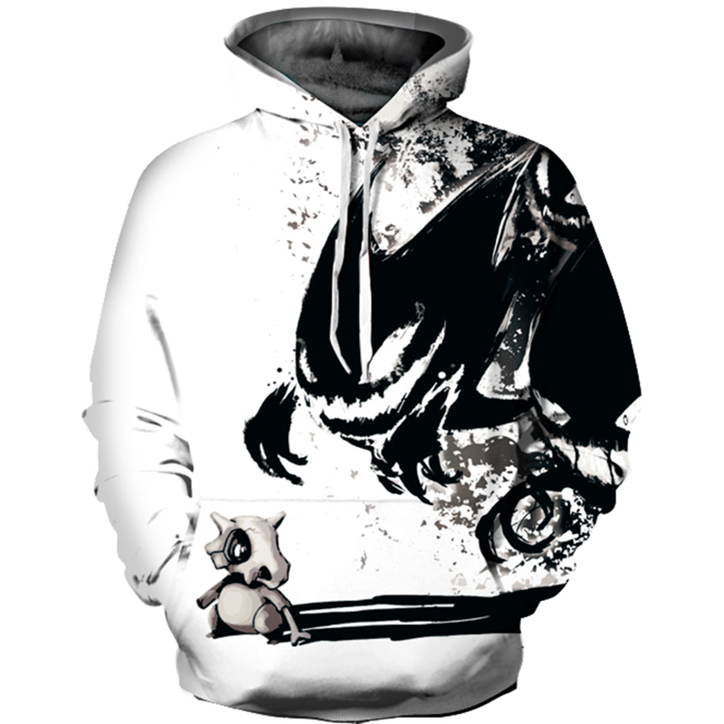 Black Ink Paint Demon Mens/Womens Pullover Sweatshirts Oversize 3D Print Hooded Hoodies Unisex Long Sleeve Sweatshirts