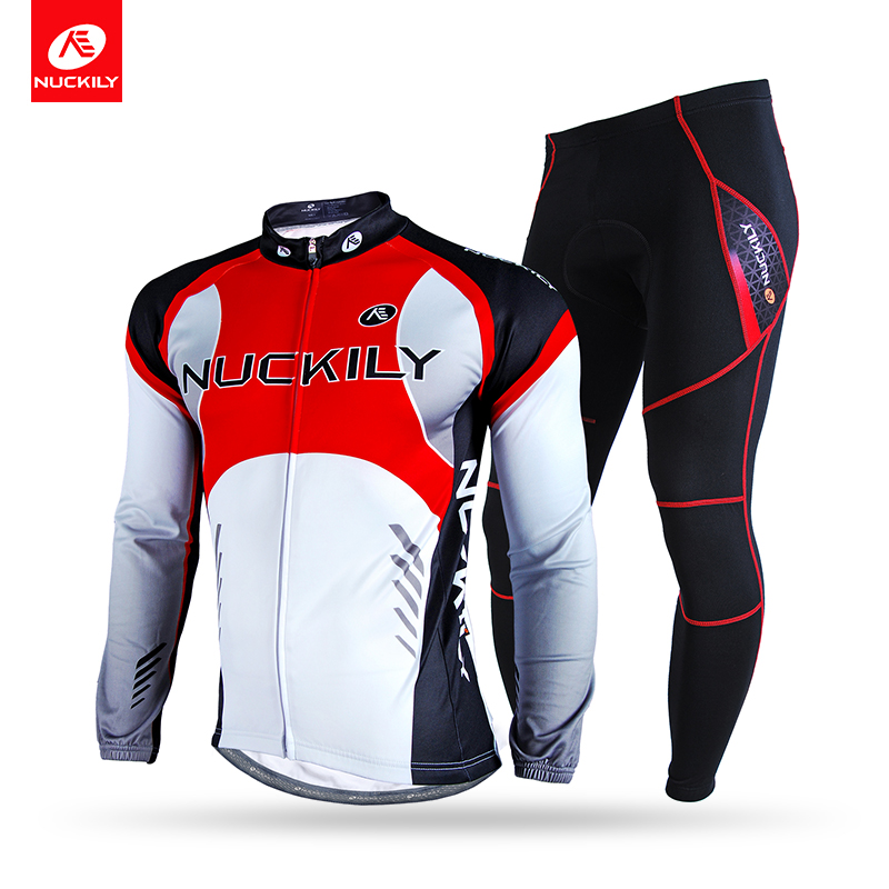 NUCKILY Winter Bicycle Jersey Suit Men's Thermal Fleece Full Length Zipper Top With Tight Cycling Sport Apperal  NJ530NS nuckily ma008 mb008 men short sleeve bicycle cycling suit