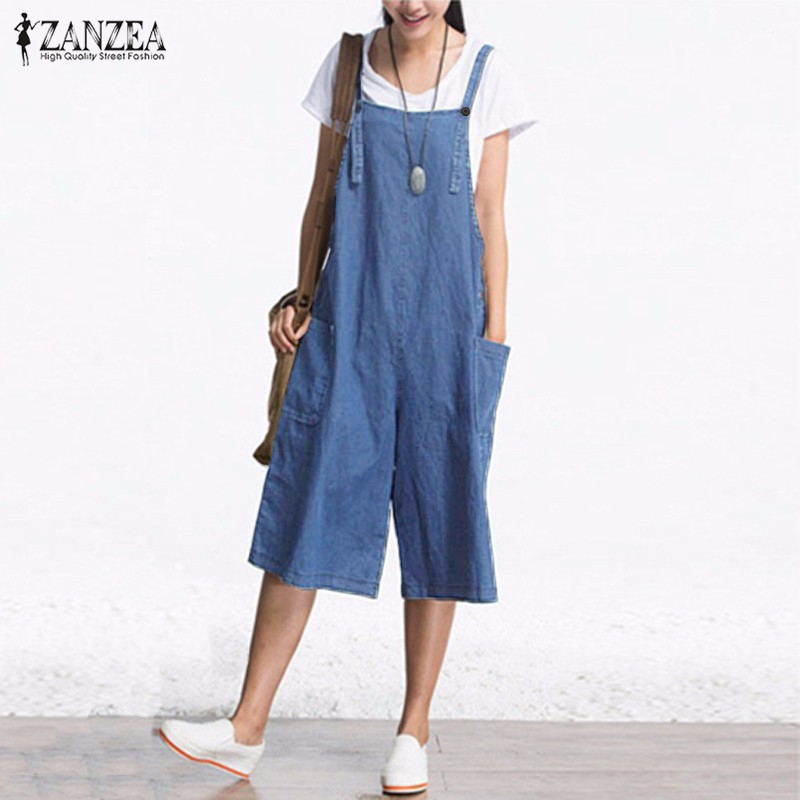 2019 ZANZEA Wide Leg Overalls Womens   Jumpsuits   Denim Blue Dungarees Rompers Sleeveless Adjustable Strap Button Lady Summer Pants