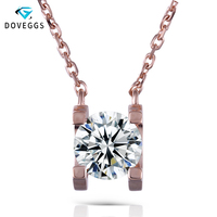 DovEggs Genuine 14K Rose Gold 1ct Carat F Color Moissanite Diamond Pendant Necklace for Women Wedding Gift Pink Gold Necklace
