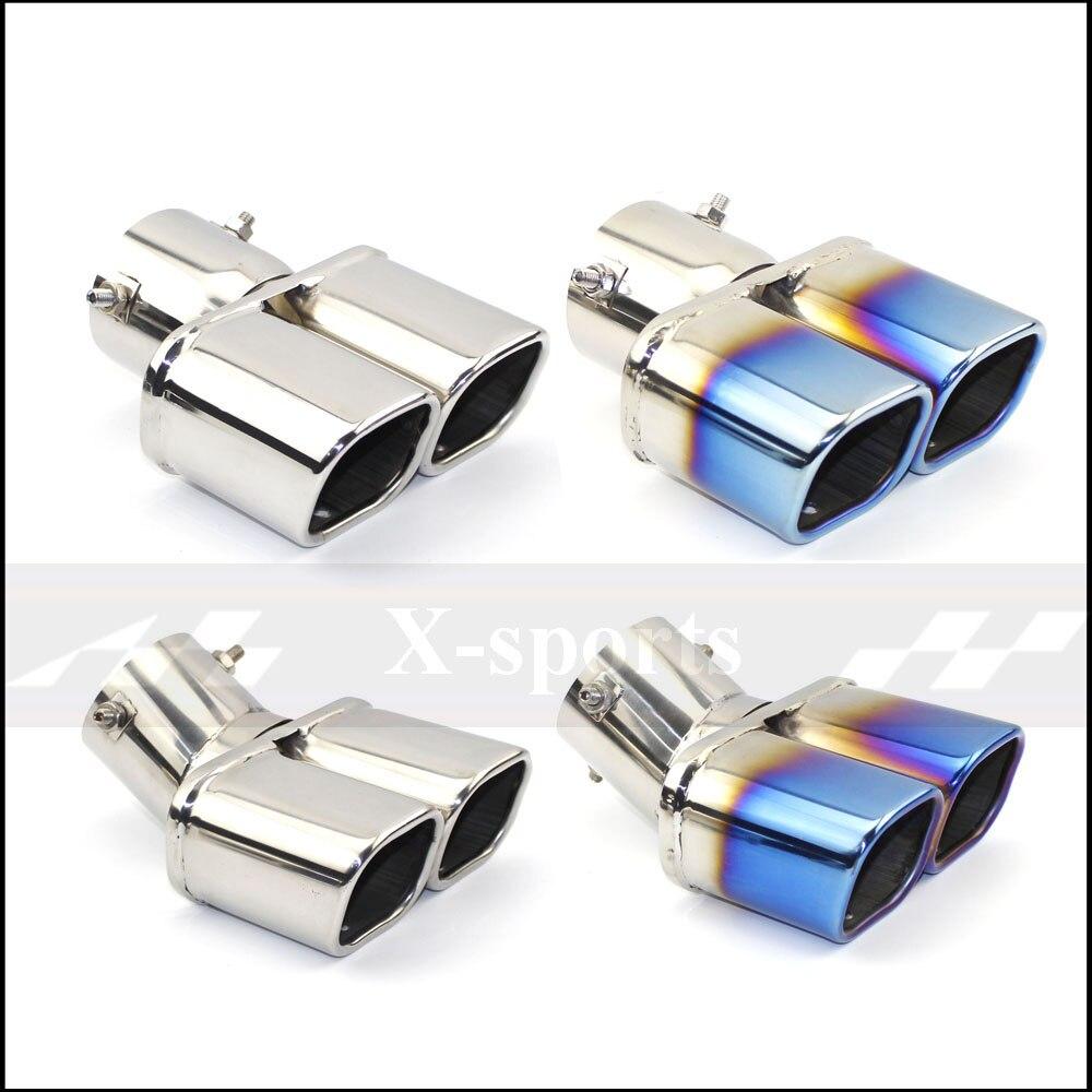 Extremidade quadrada de aço inoxidável universal da extremidade do bocal da saída da tubulação da cauda do silenciador da tubulação de escape uma mudança dois dobro para fora id 60mm 75mm