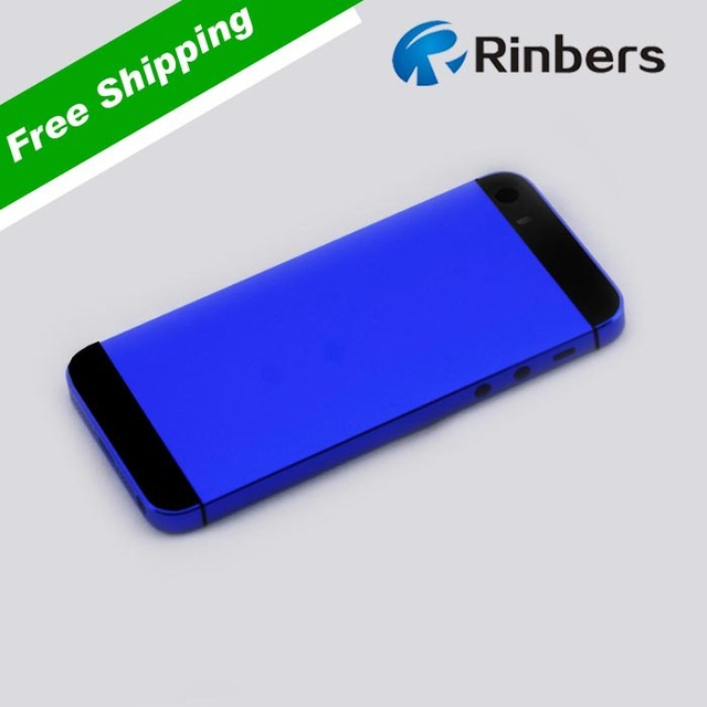 pretty nice 17d06 64b0b US $20.99  For iPhone 5S Dark Blue White/Black Glass Empty Metal Back Cover  Housing Replacement Part +Middle Frame Bezel, LOGO&Writings-in Mobile ...