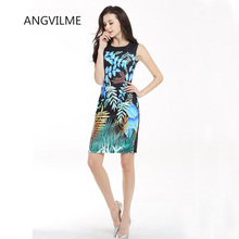ANGVILME New 2017 Women summer Cute bodycon Dress Tropical forest Leaf Wild vestido young design cover hips sexy dress
