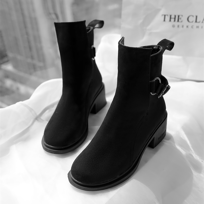 Chunky Botas Pour Cheville black Pu Boucles Moto Sangle 34 Flock Bottes De Stylesowner Femmes Noir ~ Leather Zipper D'hiver Grand Taille Mujer Black Talon 43eu qw0A6XE