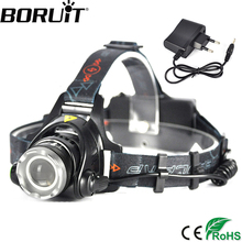 Boruit 2000LM XML-T6 LED Headlamp 3-Mode Zoom Adjustable Headlight Hunting camping Head Light Torch Flashlight by 18650 Battery