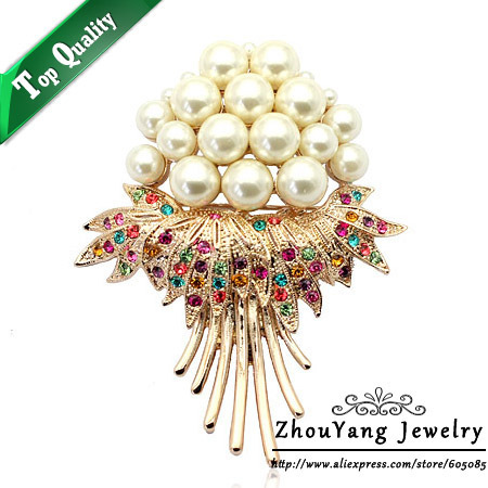 ZHOUYANG ZYX002 Elegant Flower Imitation Pearl  Champagne Gold Plated Brooches Austrian Crystal  Wholesale
