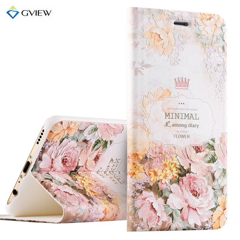PU Leather 3D Relief Printing Smart Flip Flip Cover Case For Huawei Honor V9 Honor 8