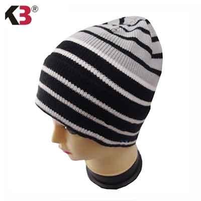 Distressed Stripe Slouch Beanie Skull Cap Trendy Warm Winter Slouchy Beanie Hat (10)