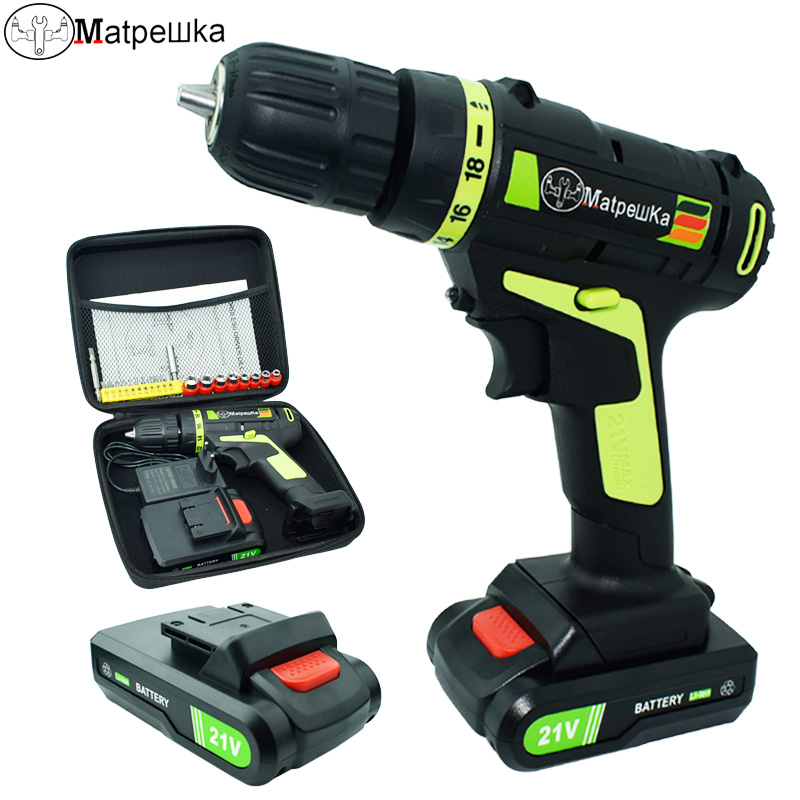 21V Electric Screwdriver Household Cordless Drill Power Tools Multifunction Rechargeable drill 1 Battery +21 Gift