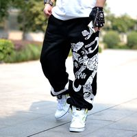 2019 Spring Autumn Men Hip hop Street Dance Fashion Sport Pants Paint Printing Loose Edition Big/Large Size Black/Gray Sweatpant