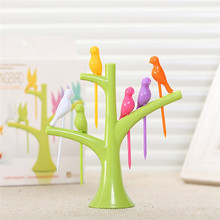 6 colors Birdie Fruit Fork Birds On The Tree Dessert Cake Dinnerware Party Cocktail food sticks set party supply
