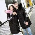 Nova Moda 2016 Mulheres de Inverno de Alta Qualidade Engrossar Quente Real Gola de Pele De raposa Pato Branco Longo Para Baixo Parkas Jaqueta Casais casacos