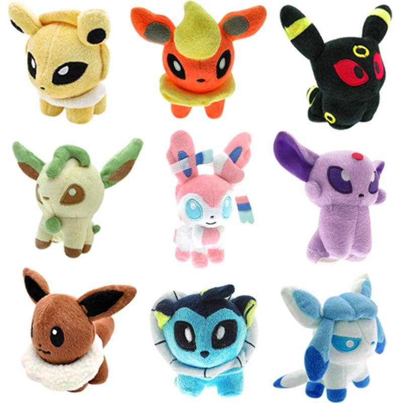Pokemoned Yokai ty Beanie Boos 9pcs/set of evee Plush Doll Toy Eeveelution ty Beanie Boos evee Eeveelution ty beanie boos медвежонок halo 15 см