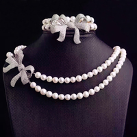 High Quality Fashion Classic double strand of pearls Necklace AAA CZ Crystals Betterfly Bowknot Women Jewelry Collar Perlas