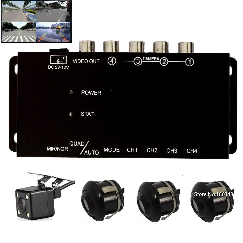 ИК-контроль 4 камеры видео-контроль автомобиля камеры изображения переключатель Combiner коробка с фронтальным заднего вида правый левый вид 4 ...