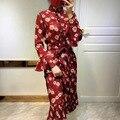 Arlene sain mulheres no início da primavera de 2017 o novo manga folha de lótus camisa pêndulo duplo órgão plissado dress