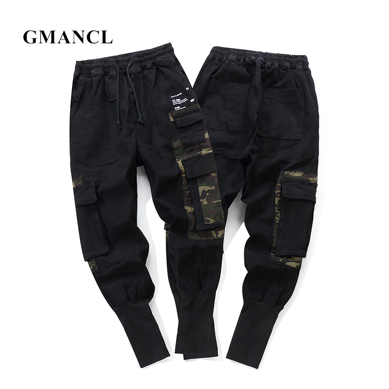 GMANCL New Men Camouflage Patchwork Multi-pocket Slim Casual Pants High Street Hip Hop Cotton Drawstring Male Jogger Trousers