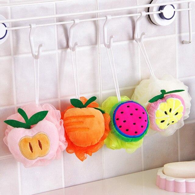 1x Colore forma di frutta palla bagno vasca da bagno spugna da bagno strofinare