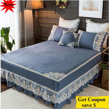 Free shipping 3pcs lace quilted padded non-slip mattres cover thick cotton bedskirt quality bed cover solid color bedspread
