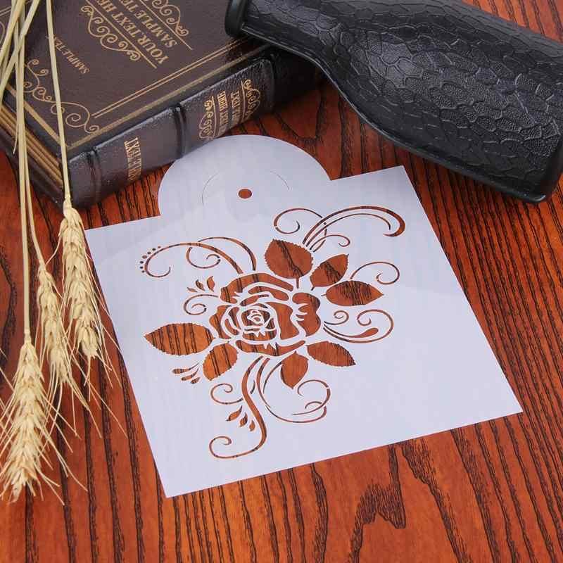 Stencils Bolo de Aniversário Molde de Plástico Rosa Flor Spray Spray de Superfície de Decoração Do Bolo Stencil Stencils Cookies Decoração
