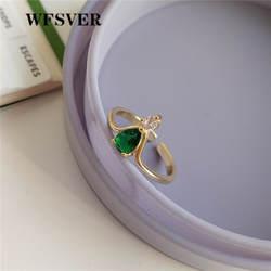 WFSVER 925 серебро Незамкнутое регулируемое кольцо для женщин цвет золотистый с зеленым модное кольцо с кристаллом оптовая продажа ювелирных