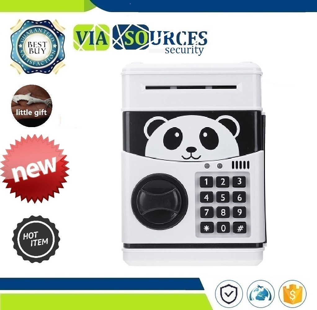 Christmas Gift Panda Electronic Piggy Bank ATM Password Money Box Cash Coins Saving Box Bank Safe Box Automatic Deposit Banknote