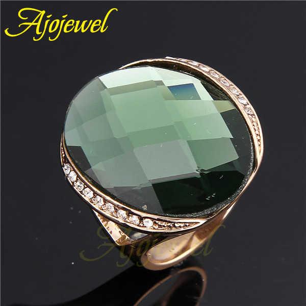Ajojeel ยี่ห้อขนาดใหญ่คริสตัลหรูหราแหวนผู้หญิงผู้ชาย Simple Golden เครื่องประดับสีเขียว/สีแชมเปญ