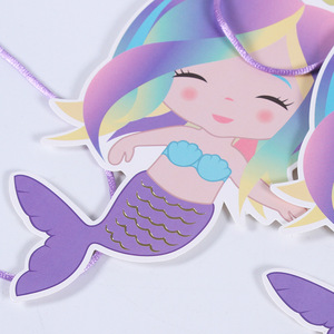 Image 3 - 3M Hot Stamp Party Mermaid Flag Banner Party Home 12pcs Mermaid Festival Birthday Home Banner Party Decorations Mermaid Party.q