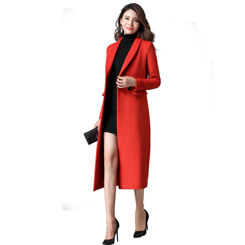 OL Cashmere Overcoat Winter Solid Color Ultra Long Female Outwear Double Breasted Long sleeved Slim Thick