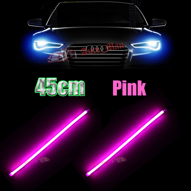 2x 45cm pink drl daytime running light flexible tube style led 2x 45cm pink drl daytime running light flexible tube style led strip for car motorcycle headlight mozeypictures Gallery