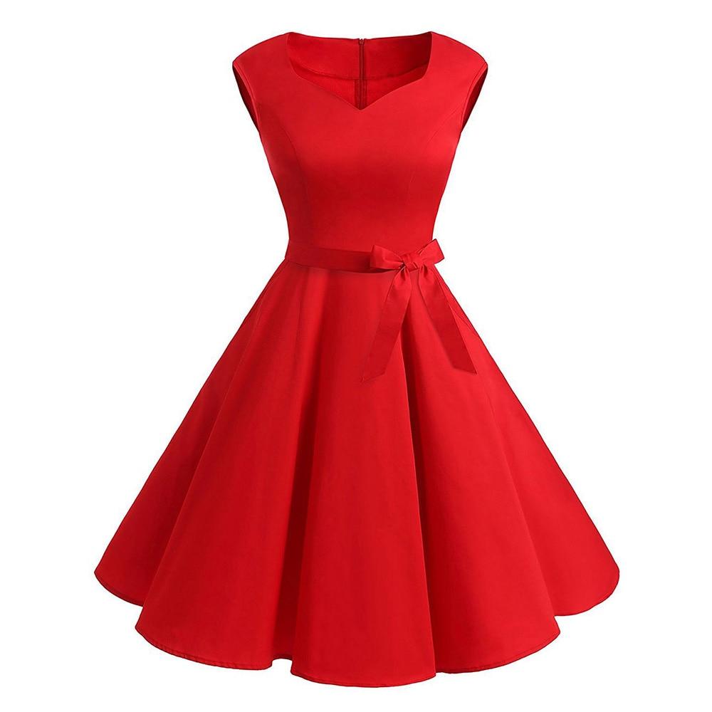 Rosegal Plus Size Women Red Dress Sweetheart Neck Flared Dress A-Line Sweetheart Neck Sleeveless Vintage Robe Summer Vestidos