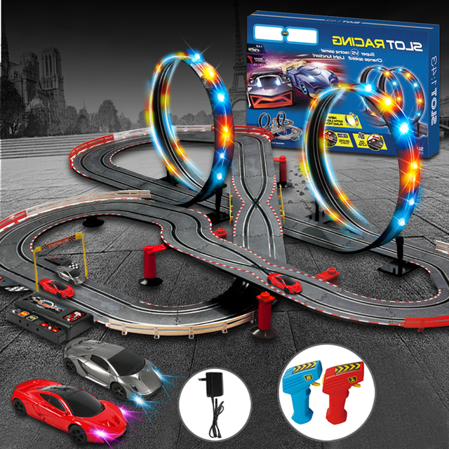Remote Control Car Racing Tracks Electric Train Railway Toy For Kids Gift Toys Railroad Trains Light Rail Cars 15