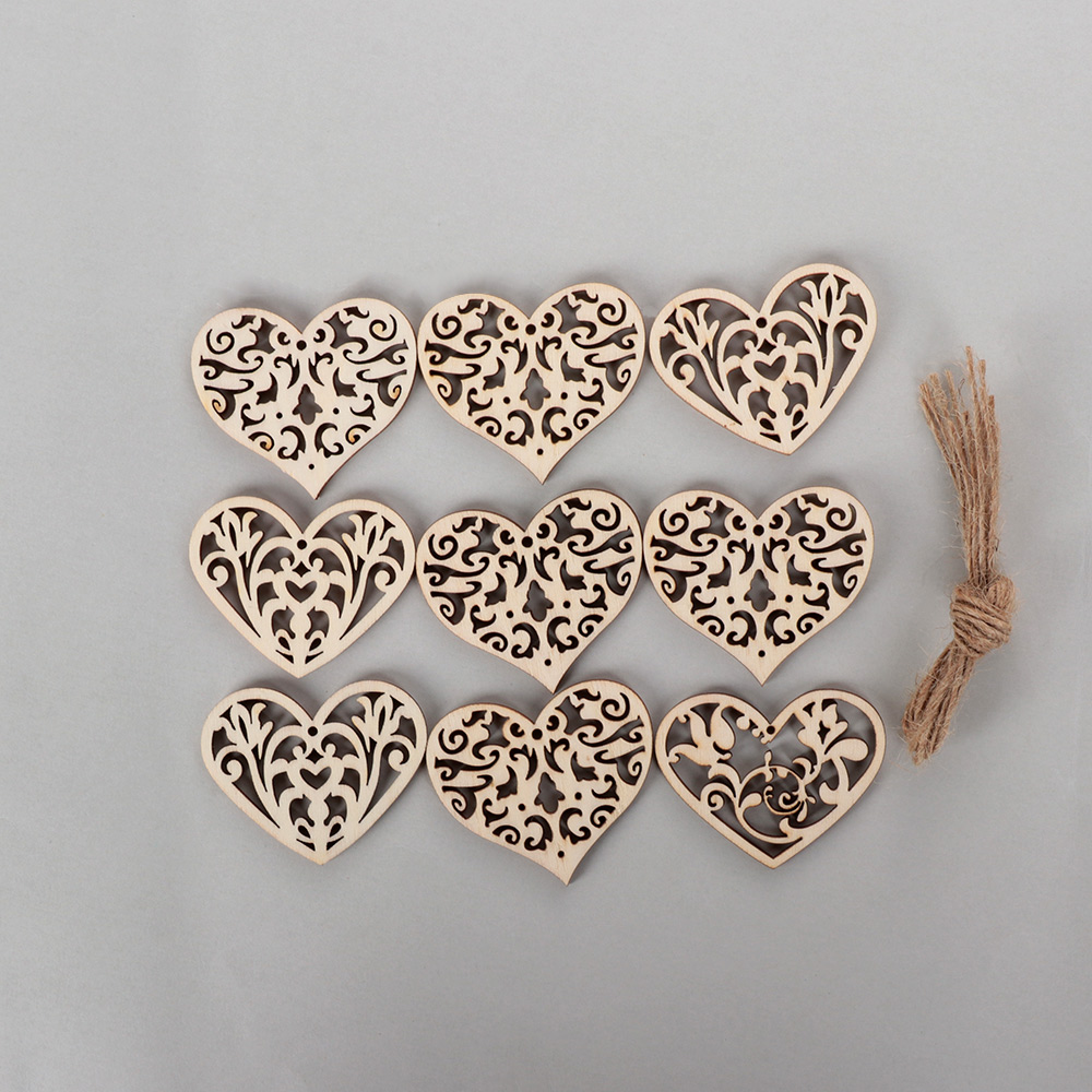 10Pcs Lovely Heart Pattern Wooden Scrapbooking Painting Hanging Craft Ornaments