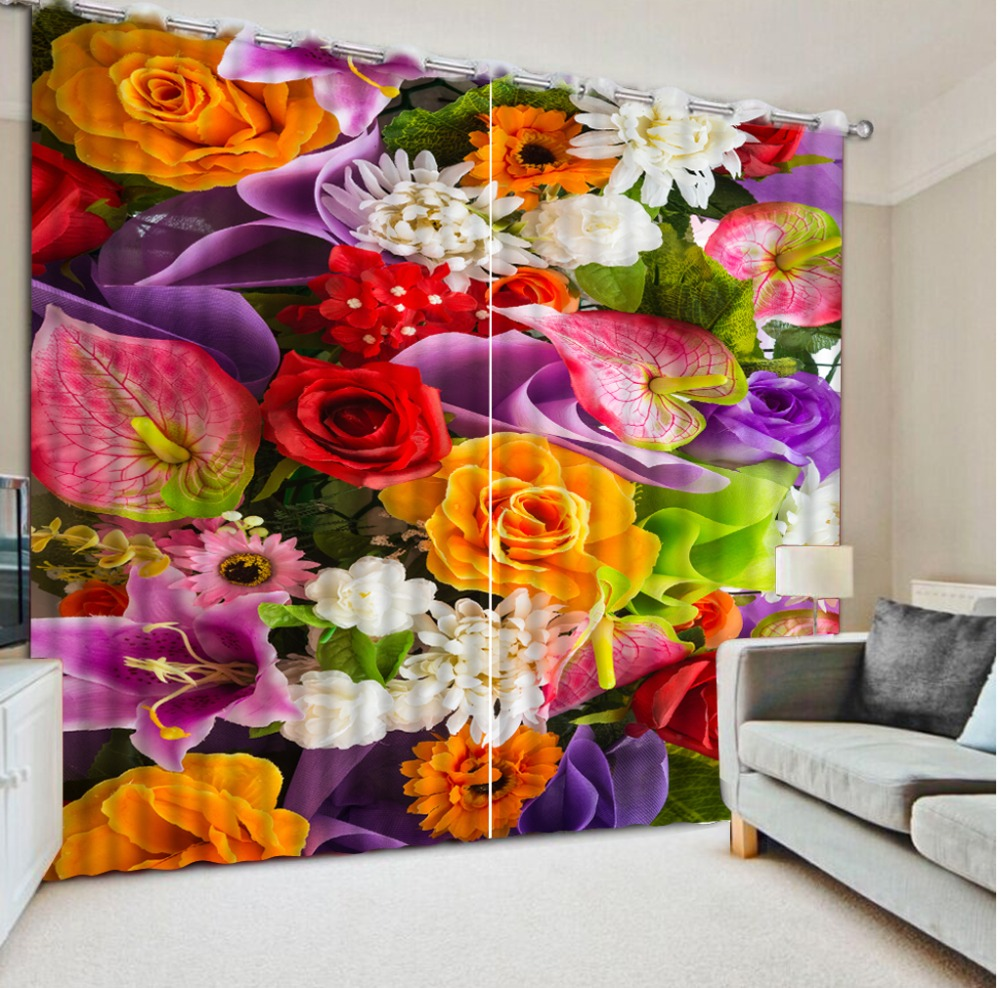 Beautiful Photo Fashion Customized 3D Curtains Modern colored flowers 3d Curtains Blackout for Living Room Kids Bedroom Fabric